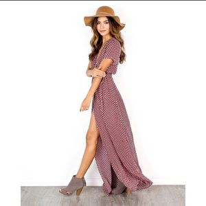 VICI Burgundy Wrap Maxi Dress with short sleeves